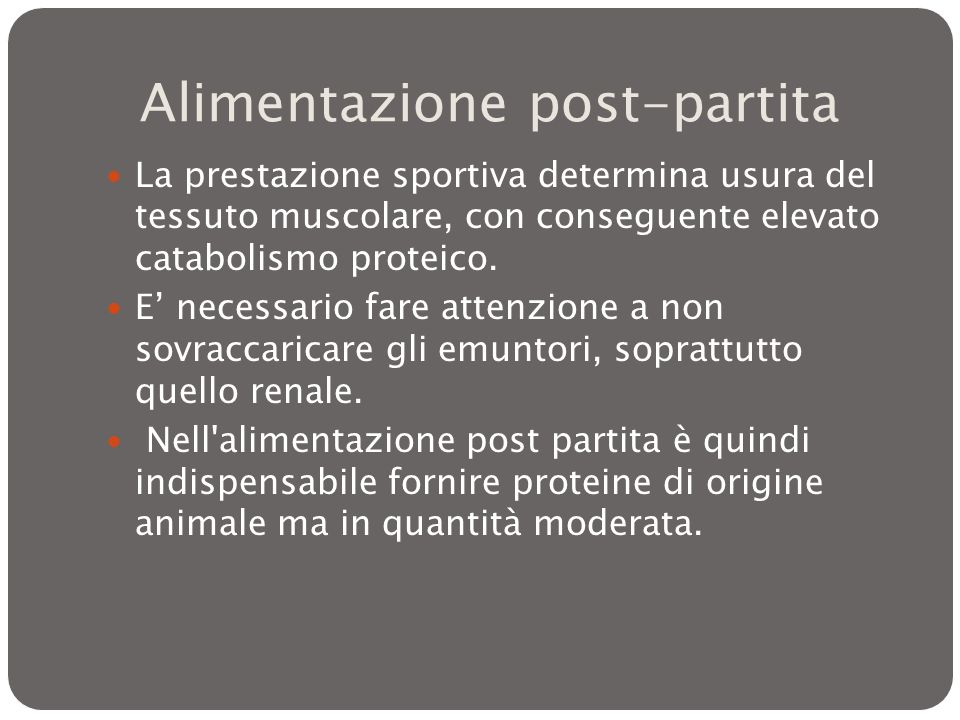 Alimentazione post-partita