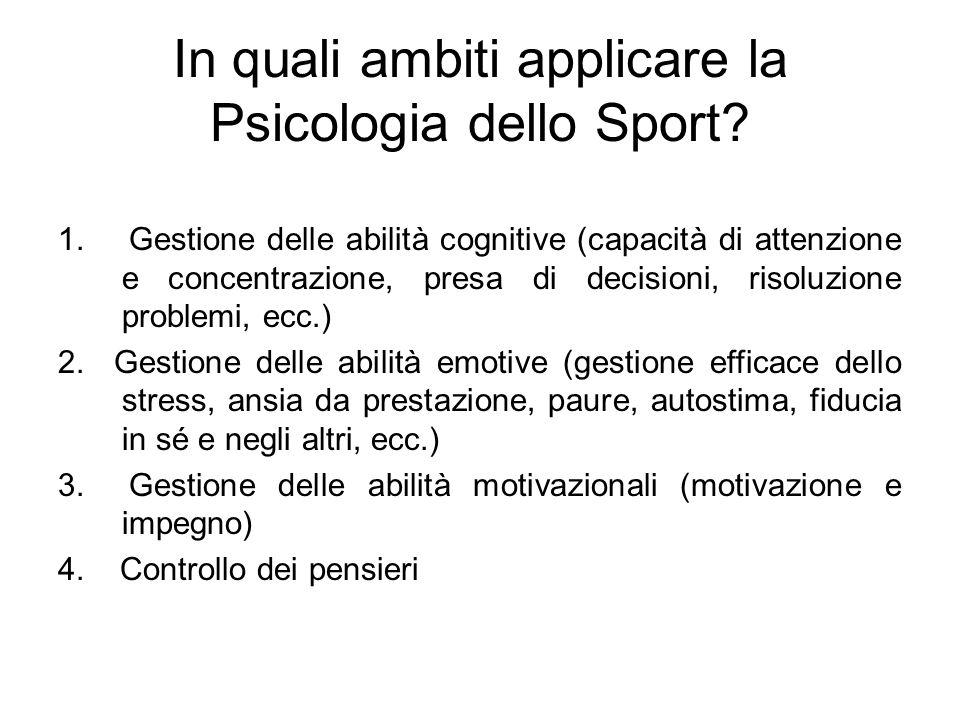 In quali ambiti applicare la Psicologia dello Sport