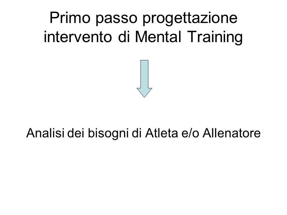 Primo passo progettazione intervento di Mental Training