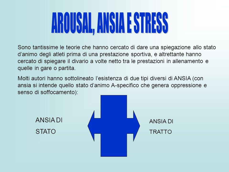 AROUSAL, ANSIA E STRESS ANSIA DI STATO