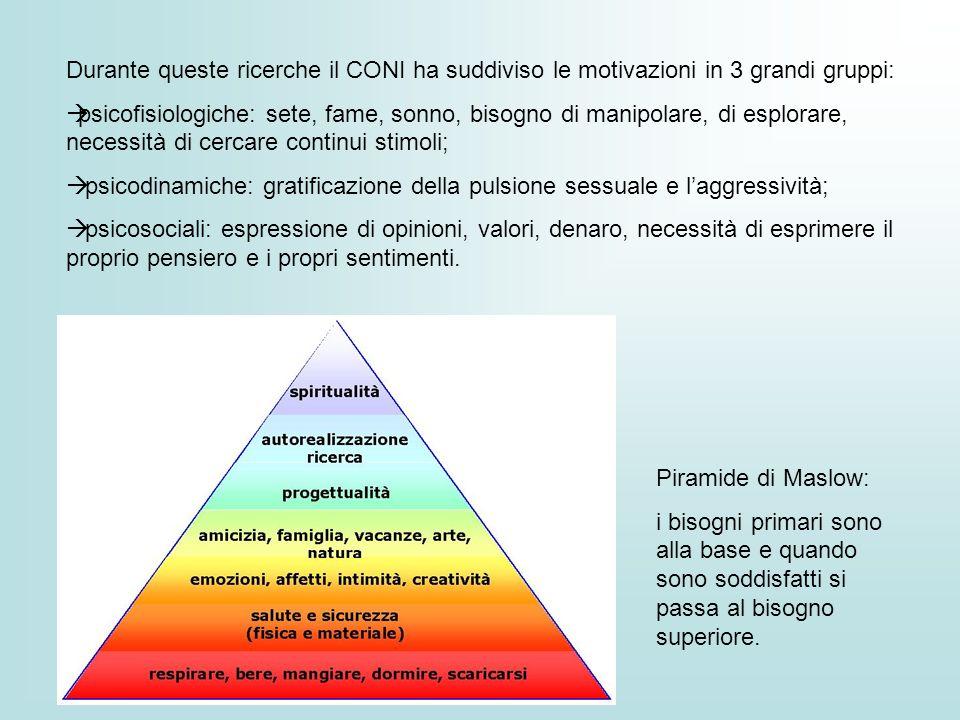 Durante queste ricerche il CONI ha suddiviso le motivazioni in 3 grandi gruppi: