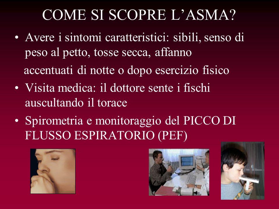 COME SI SCOPRE L'ASMA Avere i sintomi caratteristici: sibili, senso di peso al petto, tosse secca, affanno.