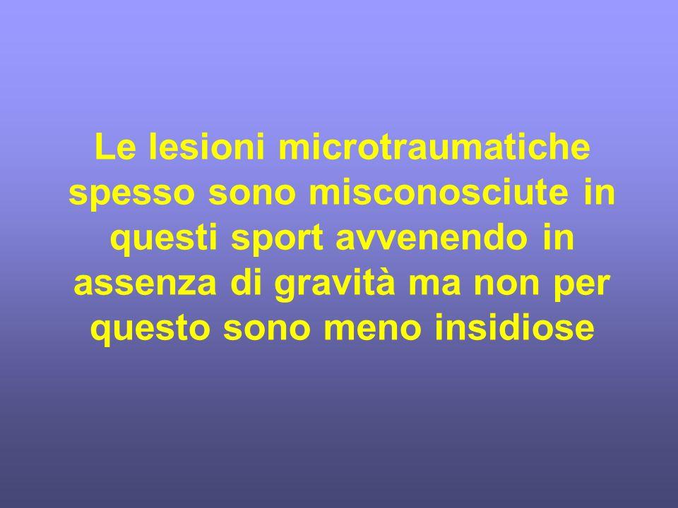 Le lesioni microtraumatiche spesso sono misconosciute in questi sport avvenendo in assenza di gravità ma non per questo sono meno insidiose