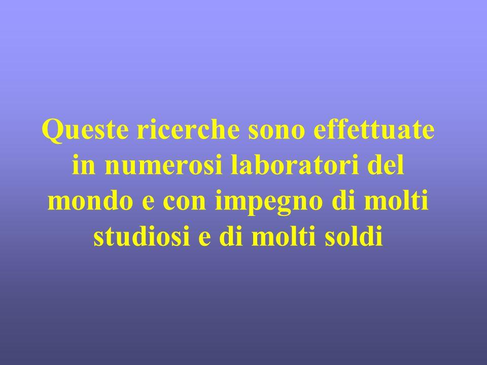Queste ricerche sono effettuate in numerosi laboratori del mondo e con impegno di molti studiosi e di molti soldi