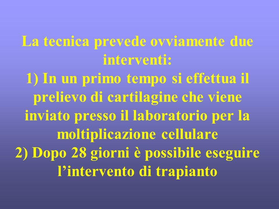 La tecnica prevede ovviamente due interventi: 1) In un primo tempo si effettua il prelievo di cartilagine che viene inviato presso il laboratorio per la moltiplicazione cellulare 2) Dopo 28 giorni è possibile eseguire l'intervento di trapianto