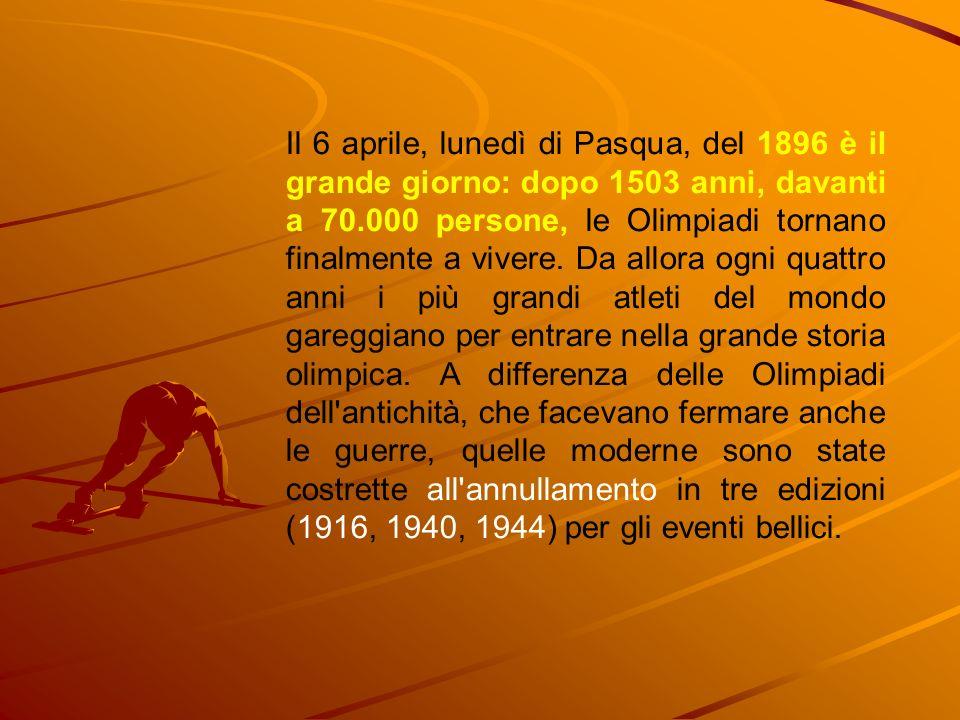 Il 6 aprile, lunedì di Pasqua, del 1896 è il grande giorno: dopo 1503 anni, davanti a 70.000 persone, le Olimpiadi tornano finalmente a vivere.