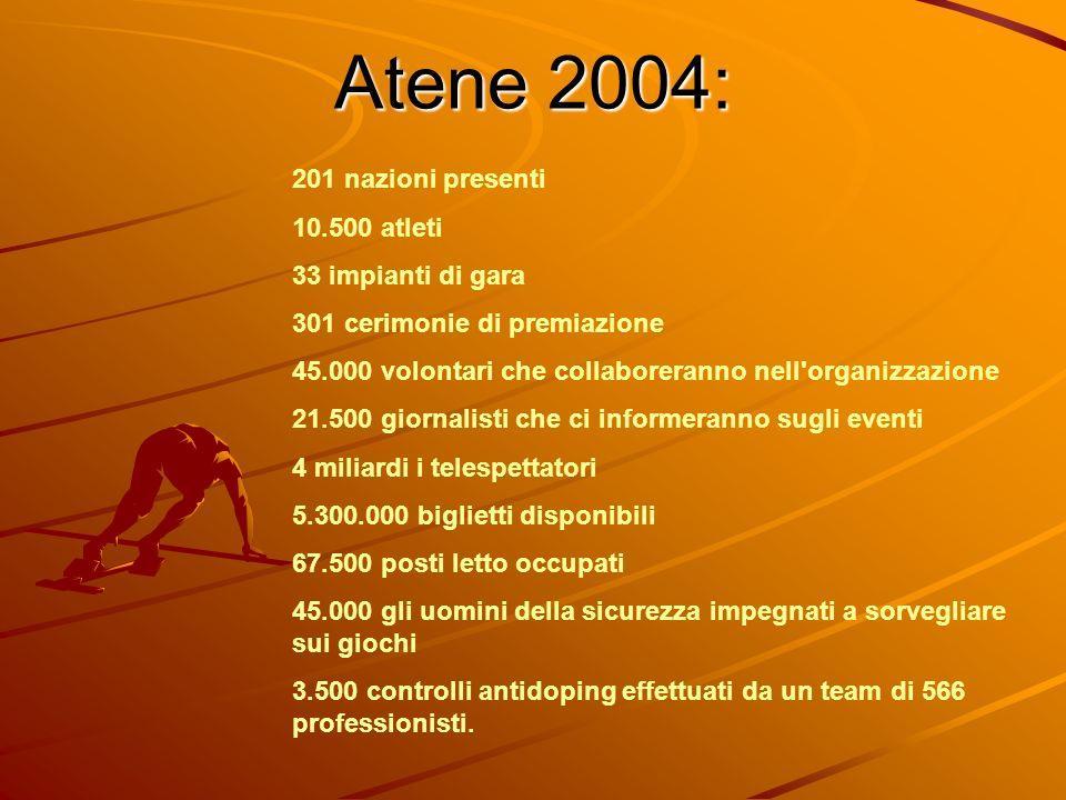 Atene 2004: 201 nazioni presenti 10.500 atleti 33 impianti di gara