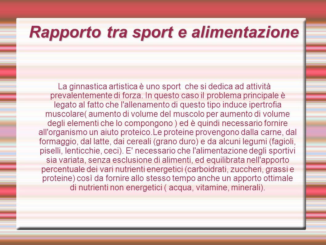 Rapporto tra sport e alimentazione