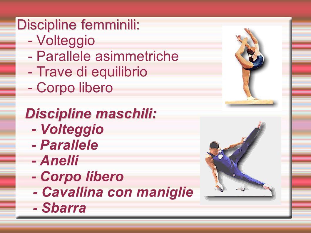 Discipline femminili: - Volteggio - Parallele asimmetriche - Trave di equilibrio - Corpo libero