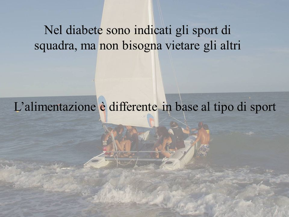 L'alimentazione è differente in base al tipo di sport