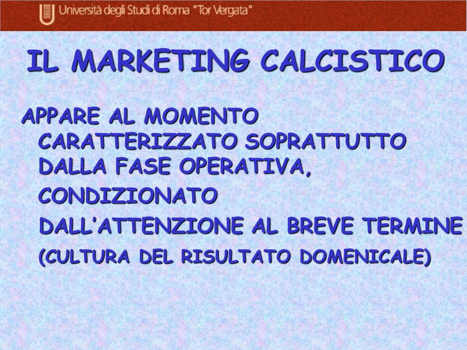 IL MARKETING CALCISTICO