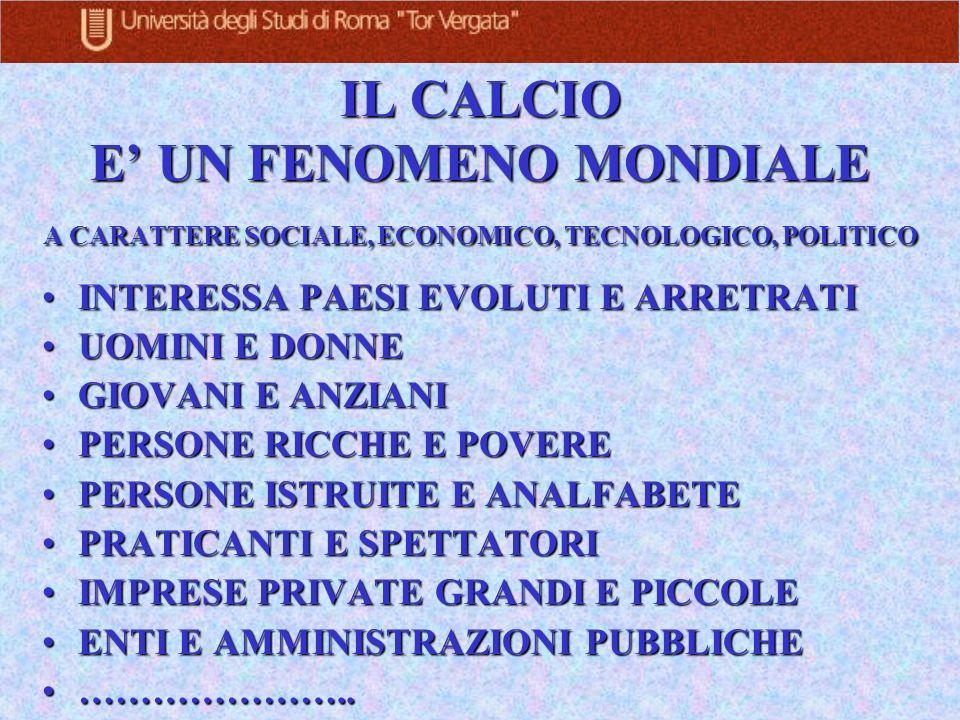 IL CALCIO E' UN FENOMENO MONDIALE A CARATTERE SOCIALE, ECONOMICO, TECNOLOGICO, POLITICO