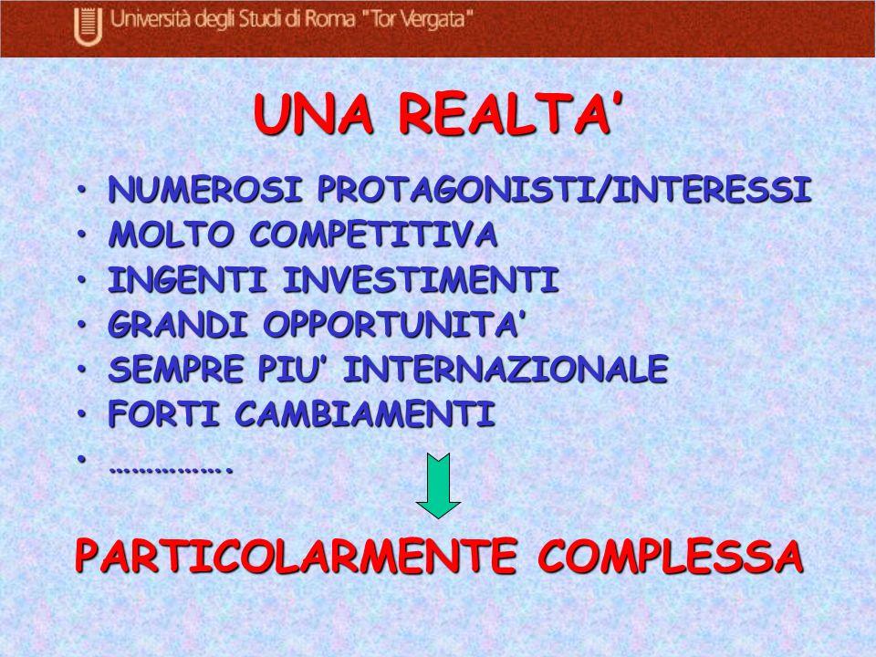 UNA REALTA' PARTICOLARMENTE COMPLESSA NUMEROSI PROTAGONISTI/INTERESSI