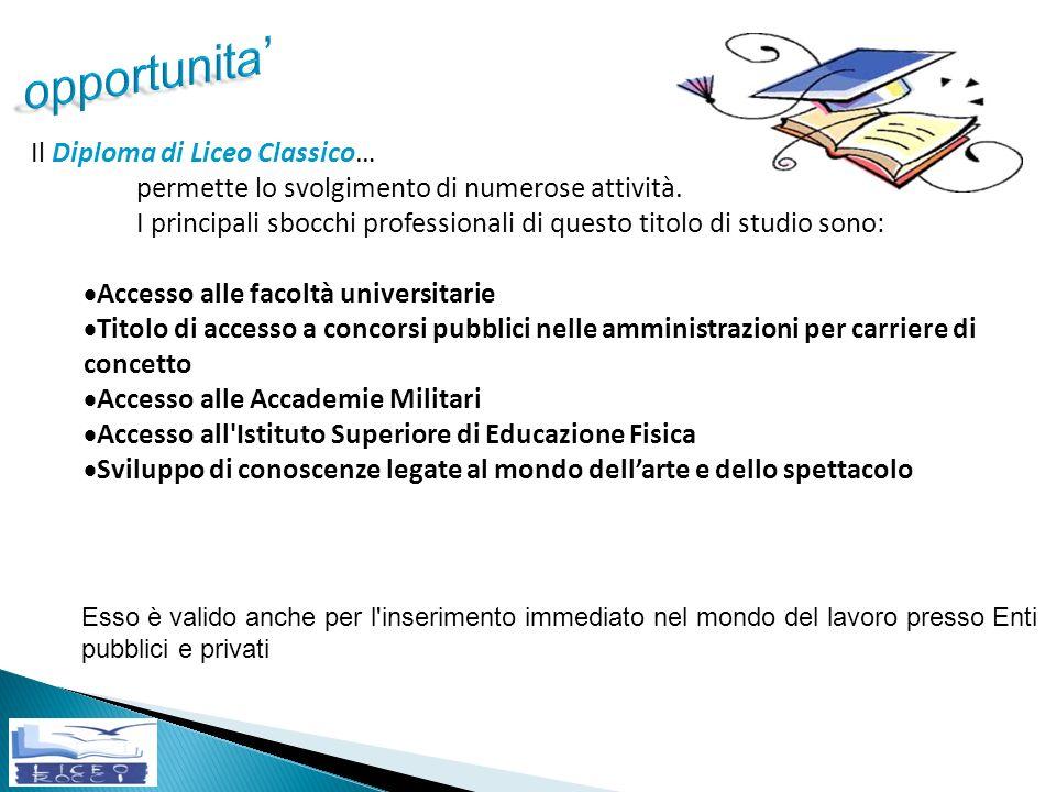 opportunita' Il Diploma di Liceo Classico…