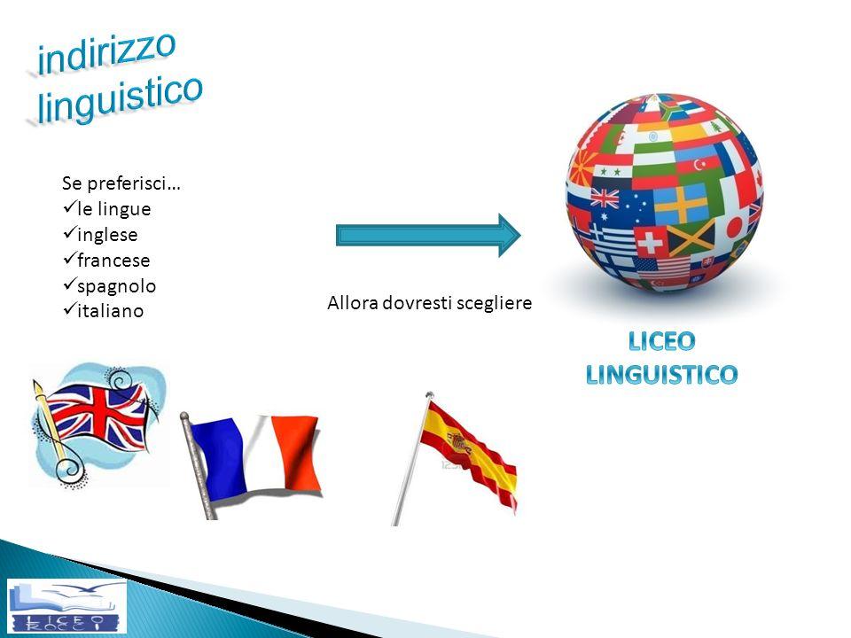 indirizzo linguistico LICEO LINGUISTICO Se preferisci… le lingue