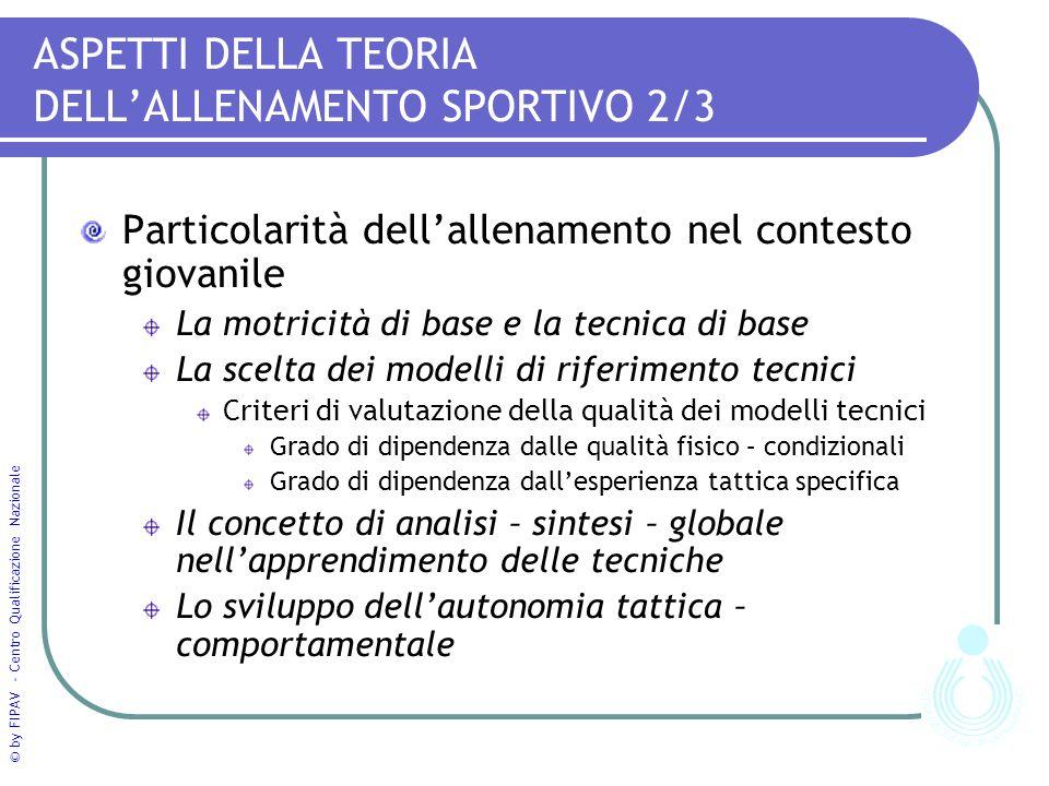 ASPETTI DELLA TEORIA DELL'ALLENAMENTO SPORTIVO 2/3