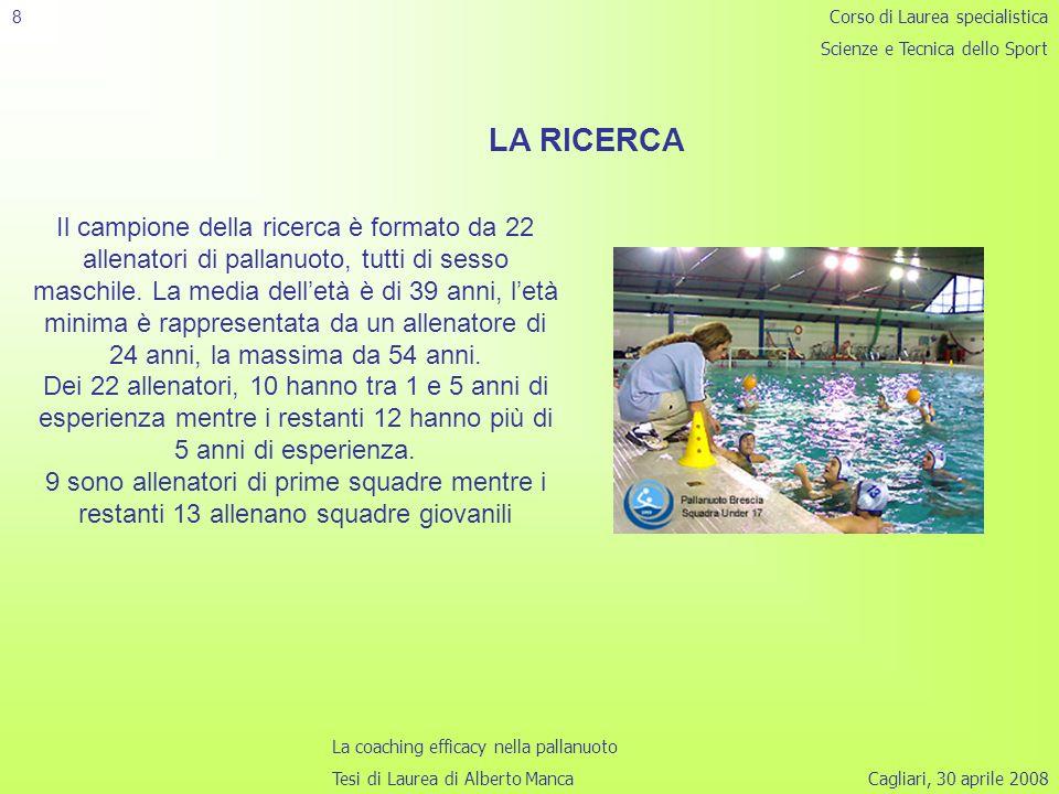 8 Corso di Laurea specialistica. Scienze e Tecnica dello Sport. LA RICERCA.