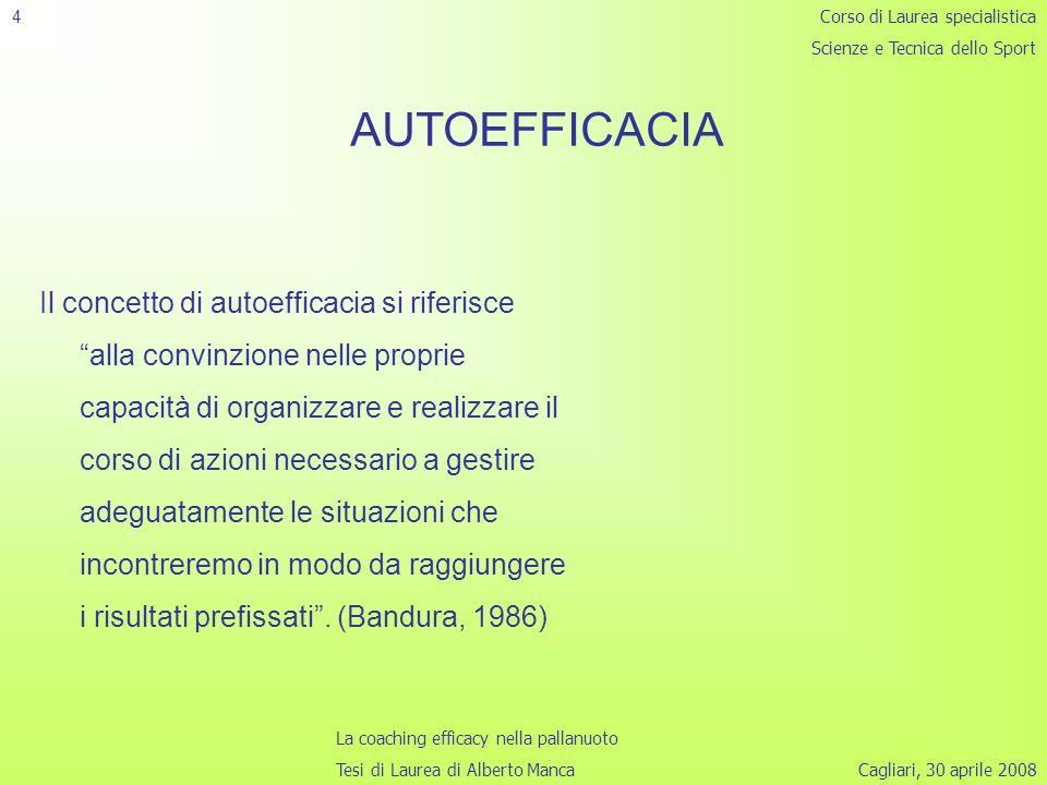 4 Corso di Laurea specialistica. Scienze e Tecnica dello Sport. AUTOEFFICACIA.