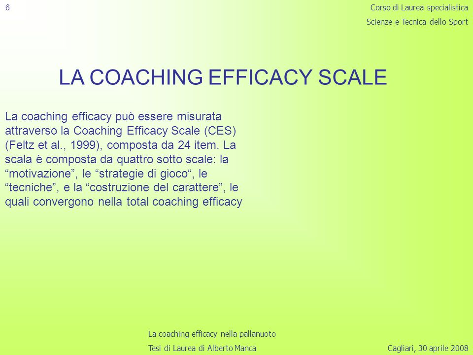 LA COACHING EFFICACY SCALE