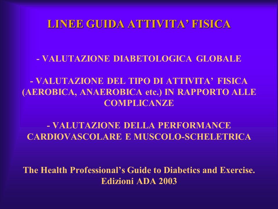 LINEE GUIDA ATTIVITA' FISICA - VALUTAZIONE DIABETOLOGICA GLOBALE - VALUTAZIONE DEL TIPO DI ATTIVITA' FISICA (AEROBICA, ANAEROBICA etc.) IN RAPPORTO ALLE COMPLICANZE - VALUTAZIONE DELLA PERFORMANCE CARDIOVASCOLARE E MUSCOLO-SCHELETRICA The Health Professional's Guide to Diabetics and Exercise.