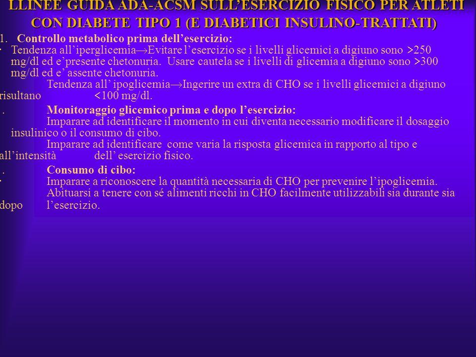 LLINEE GUIDA ADA-ACSM SULL'ESERCIZIO FISICO PER ATLETI CON DIABETE TIPO 1 (E DIABETICI INSULINO-TRATTATI)