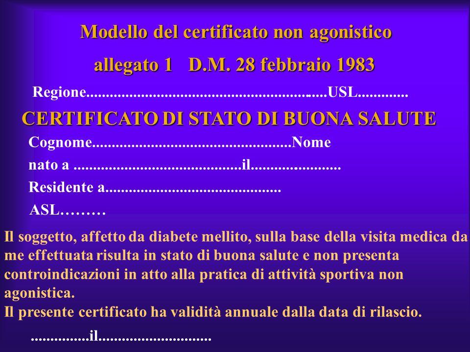 Modello del certificato non agonistico