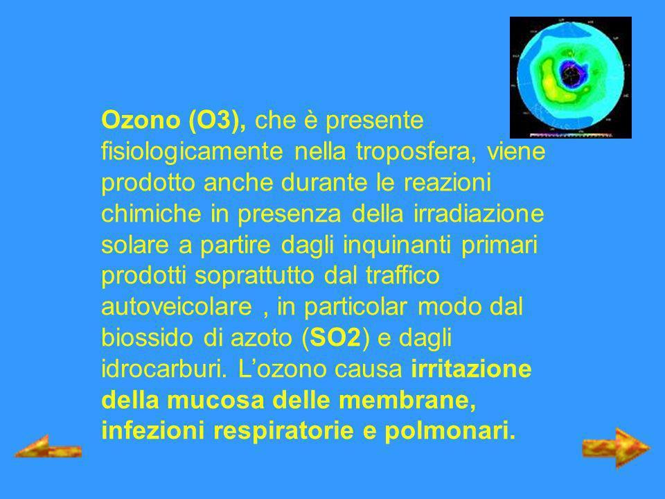 Ozono (O3), che è presente fisiologicamente nella troposfera, viene prodotto anche durante le reazioni chimiche in presenza della irradiazione solare a partire dagli inquinanti primari prodotti soprattutto dal traffico autoveicolare , in particolar modo dal biossido di azoto (SO2) e dagli idrocarburi.