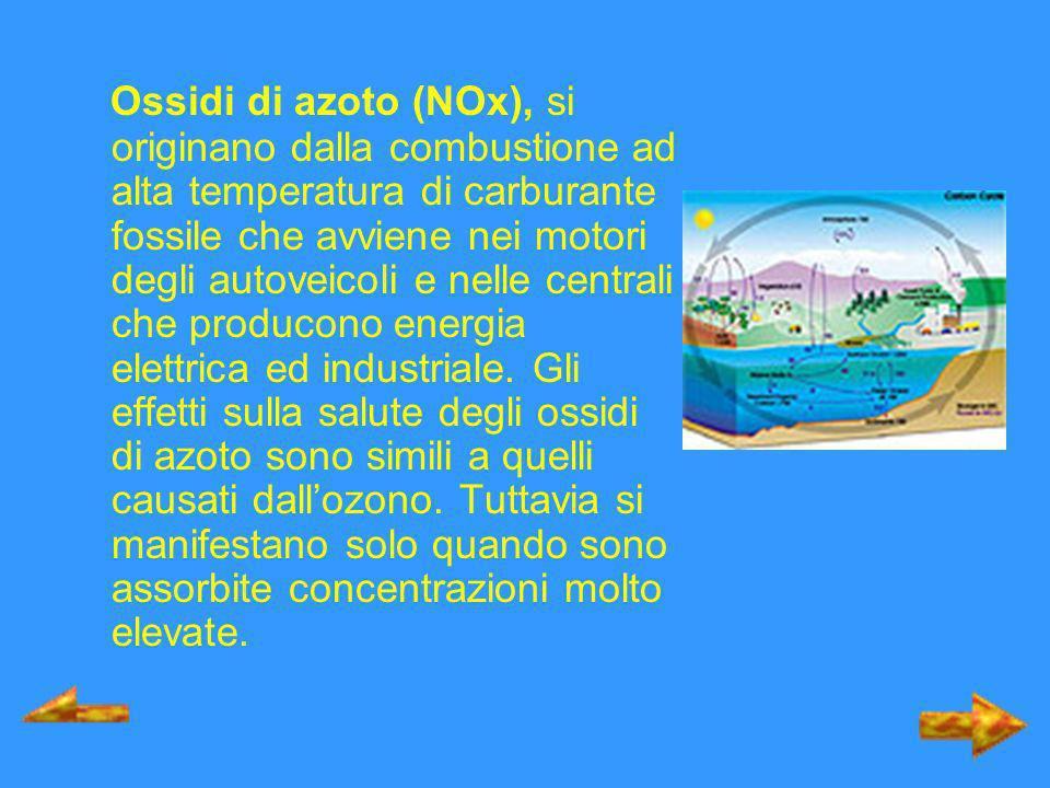 Ossidi di azoto (NOx), si originano dalla combustione ad alta temperatura di carburante fossile che avviene nei motori degli autoveicoli e nelle centrali che producono energia elettrica ed industriale.