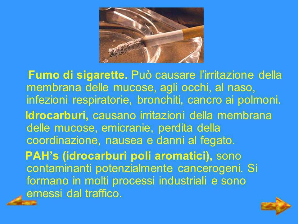 Fumo di sigarette. Può causare l'irritazione della membrana delle mucose, agli occhi, al naso, infezioni respiratorie, bronchiti, cancro ai polmoni.