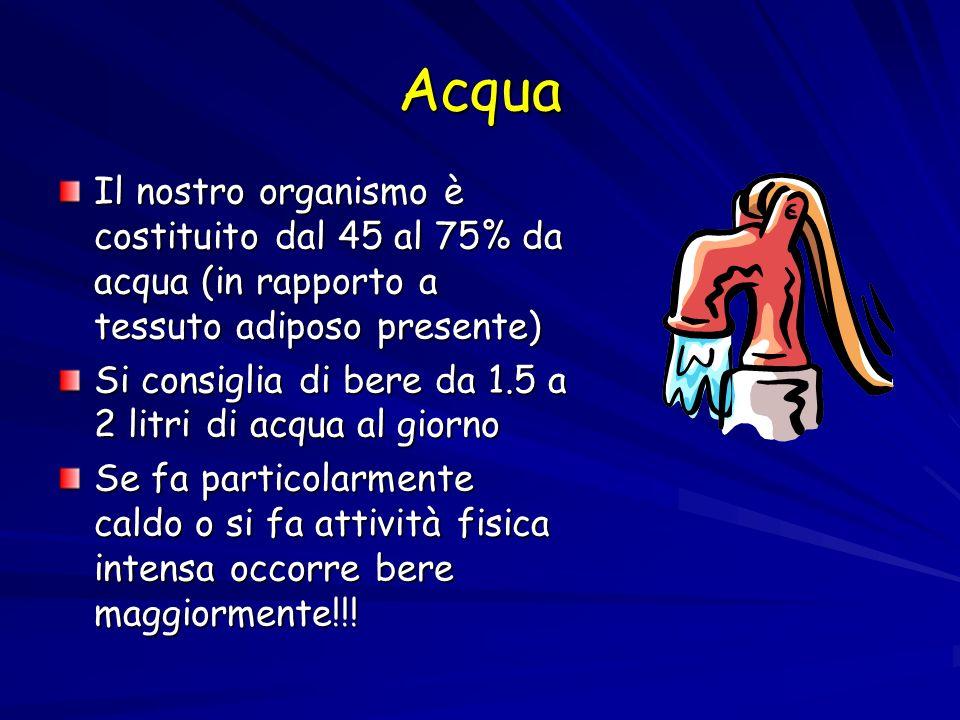 Acqua Il nostro organismo è costituito dal 45 al 75% da acqua (in rapporto a tessuto adiposo presente)
