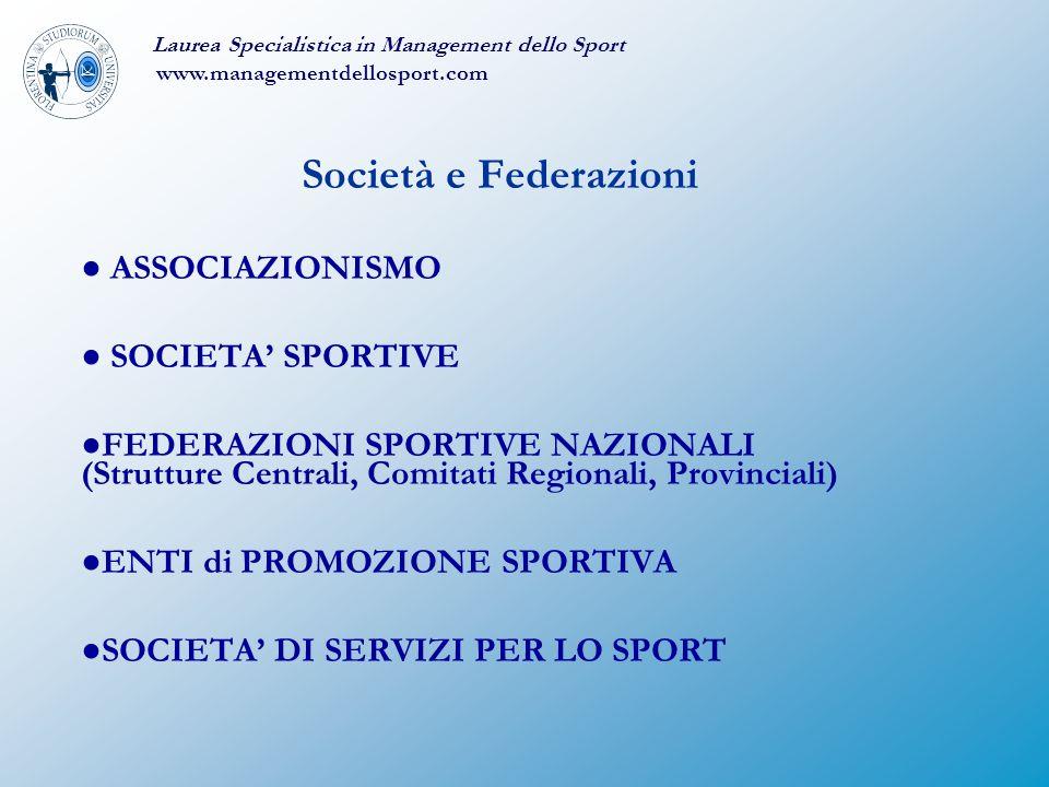 Società e Federazioni ● ASSOCIAZIONISMO ● SOCIETA' SPORTIVE