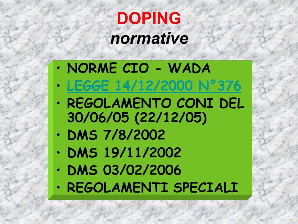 DOPING normative NORME CIO - WADA LEGGE 14/12/2000 N°376