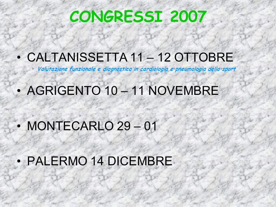 CONGRESSI 2007 CALTANISSETTA 11 – 12 OTTOBRE