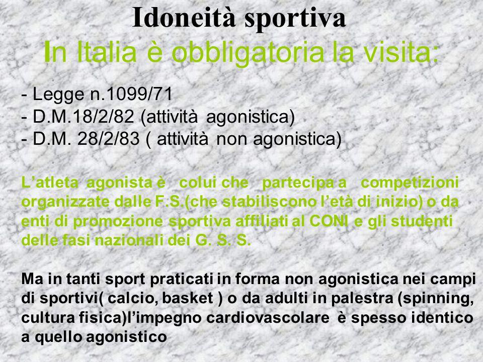 Idoneità sportiva In Italia è obbligatoria la visita: - Legge n