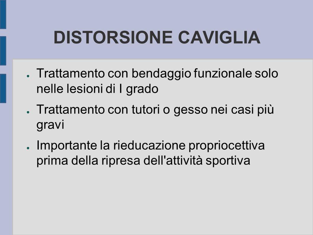 DISTORSIONE CAVIGLIA Trattamento con bendaggio funzionale solo nelle lesioni di I grado. Trattamento con tutori o gesso nei casi più gravi.