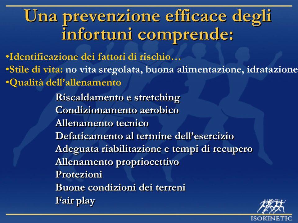 Una prevenzione efficace degli infortuni comprende: