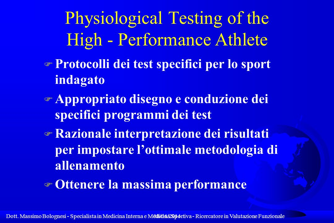 Physiological Testing of the High - Performance Athlete