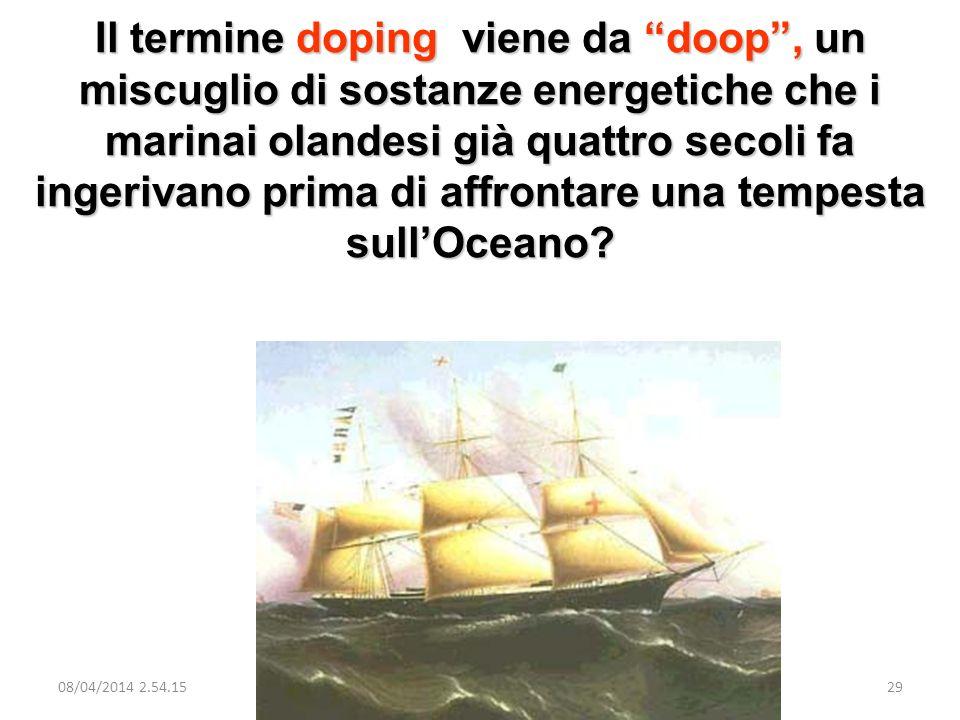 Il termine doping viene da doop , un miscuglio di sostanze energetiche che i marinai olandesi già quattro secoli fa ingerivano prima di affrontare una tempesta sull'Oceano