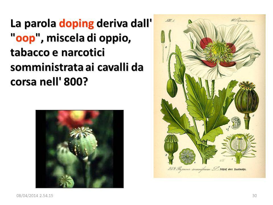La parola doping deriva dall oop , miscela di oppio, tabacco e narcotici somministrata ai cavalli da corsa nell 800