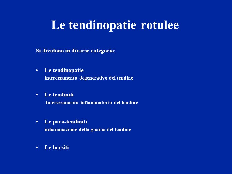 Le tendinopatie rotulee