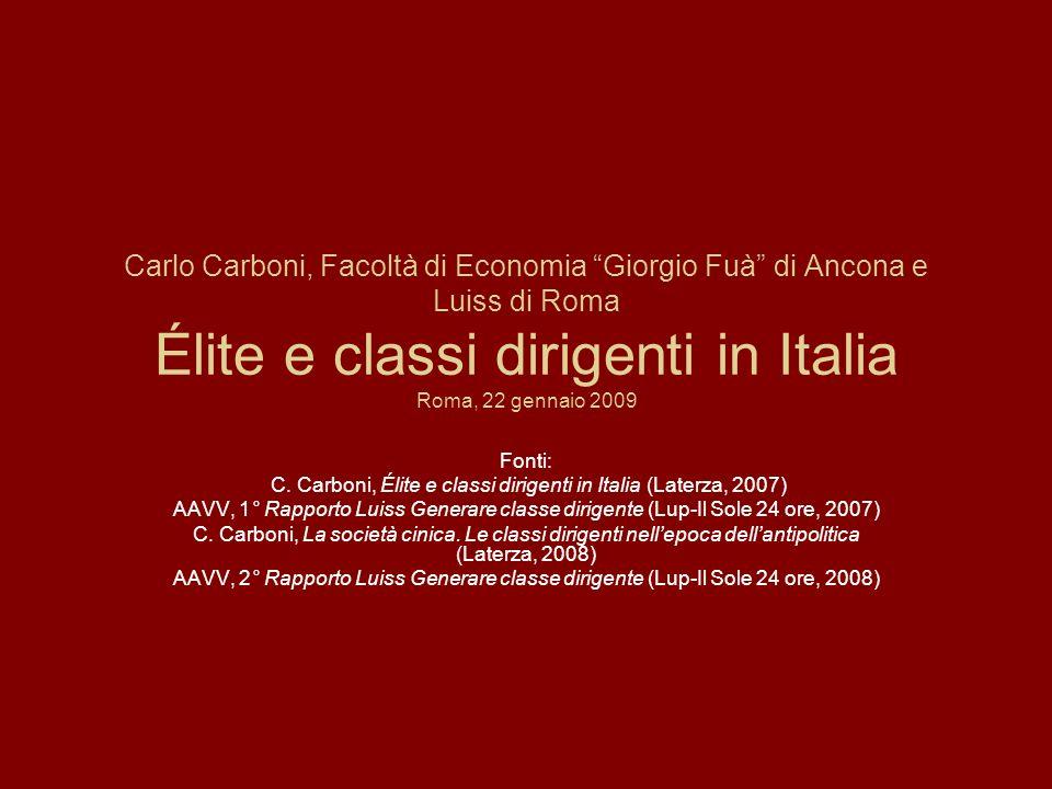 C. Carboni, Élite e classi dirigenti in Italia (Laterza, 2007)