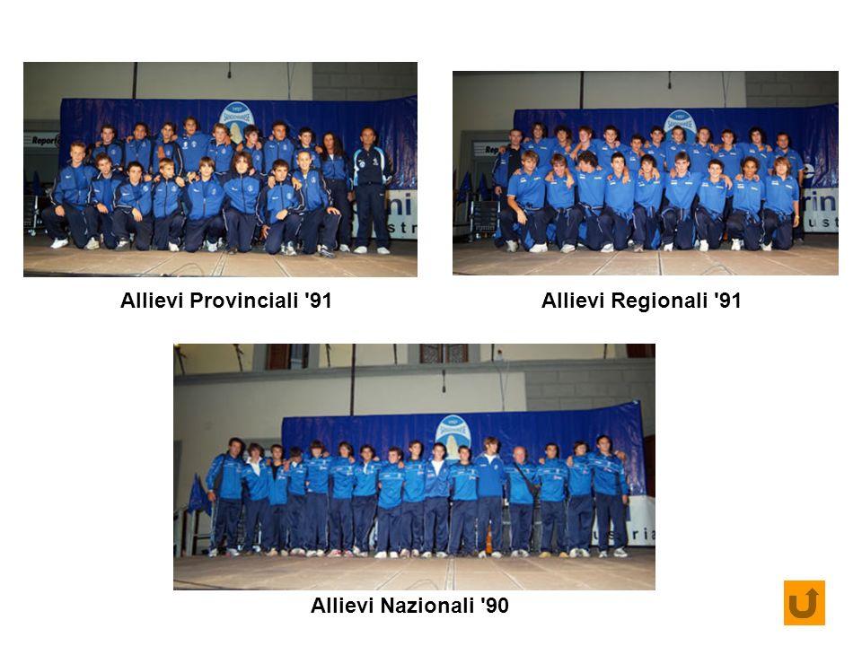 Allievi Provinciali 91 Allievi Regionali 91 Allievi Nazionali 90