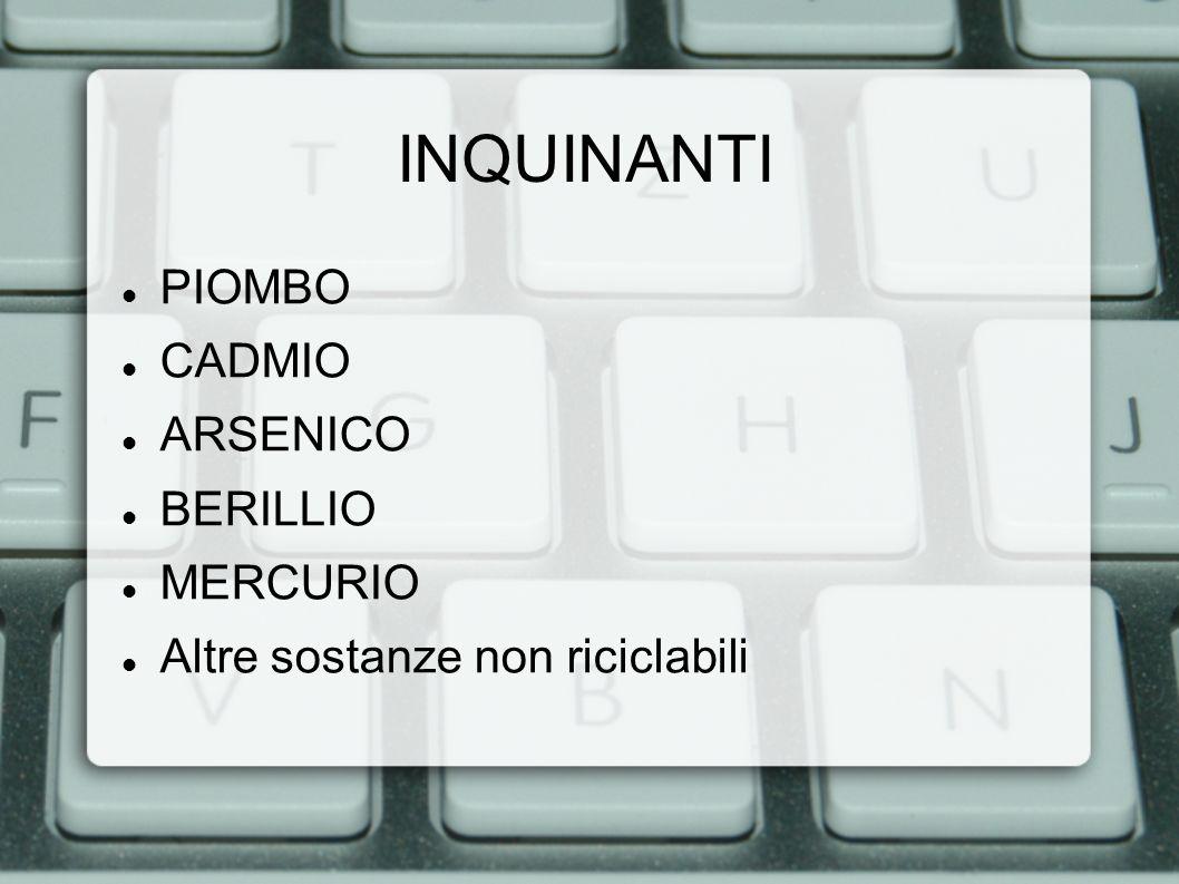 INQUINANTI PIOMBO CADMIO ARSENICO BERILLIO MERCURIO