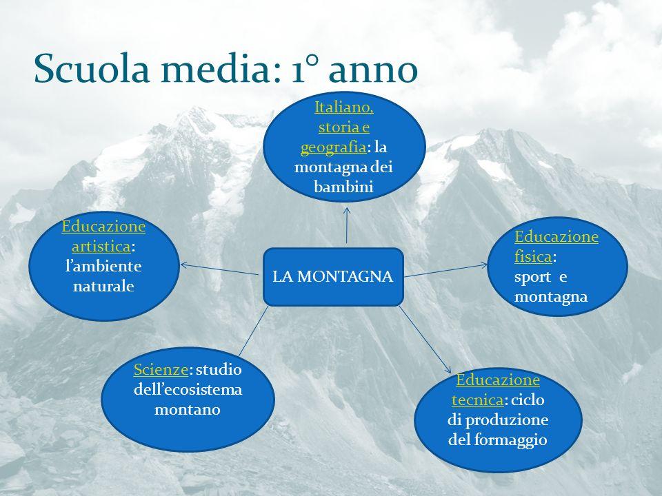 Scuola media: 1° anno Italiano, storia e geografia: la montagna dei bambini. Educazione artistica: l'ambiente naturale.