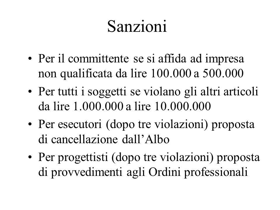 Sanzioni Per il committente se si affida ad impresa non qualificata da lire 100.000 a 500.000.