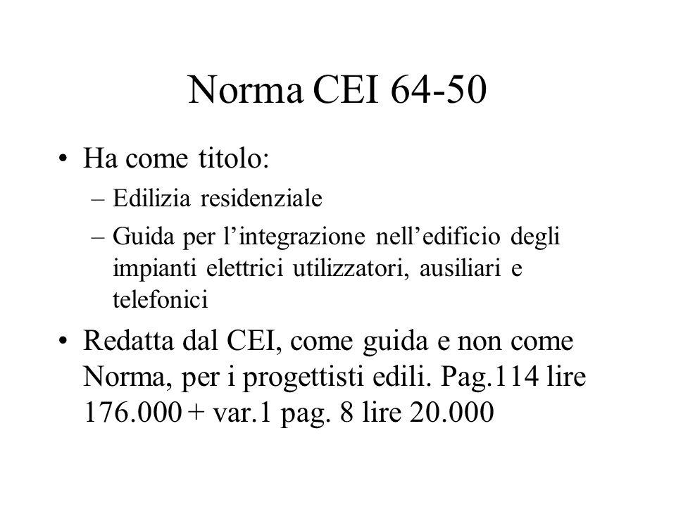 Norma CEI 64-50 Ha come titolo: