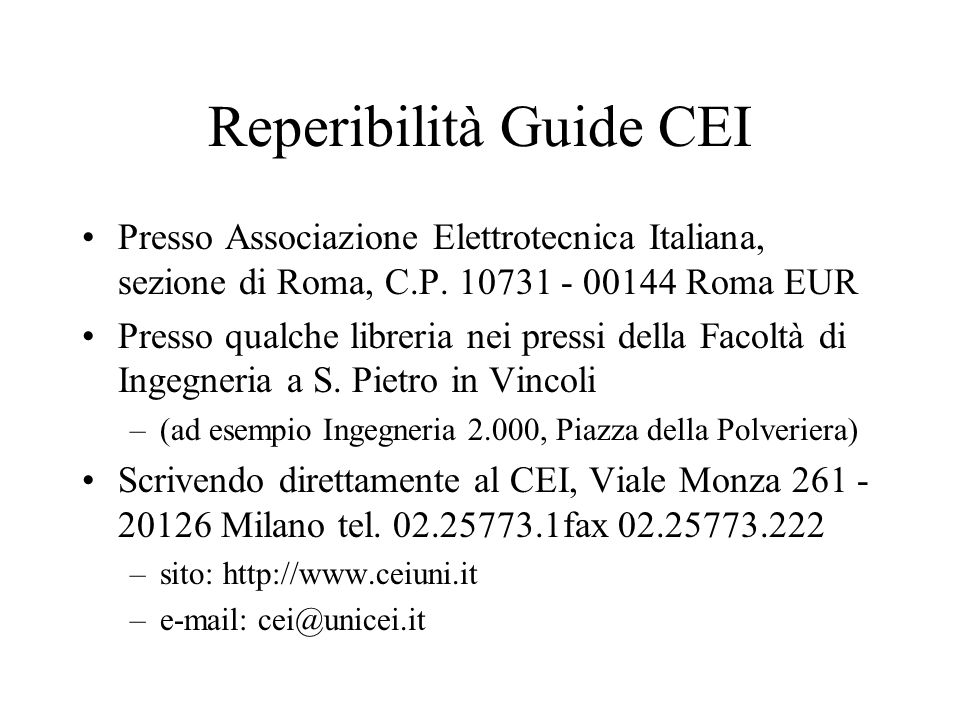 Reperibilità Guide CEI