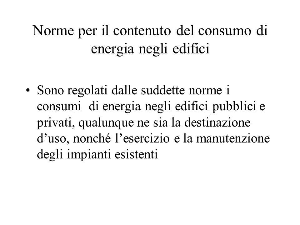 Norme per il contenuto del consumo di energia negli edifici