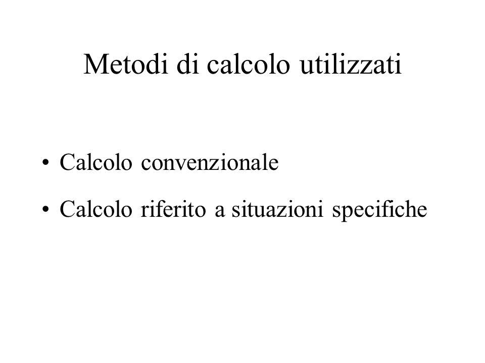 Metodi di calcolo utilizzati