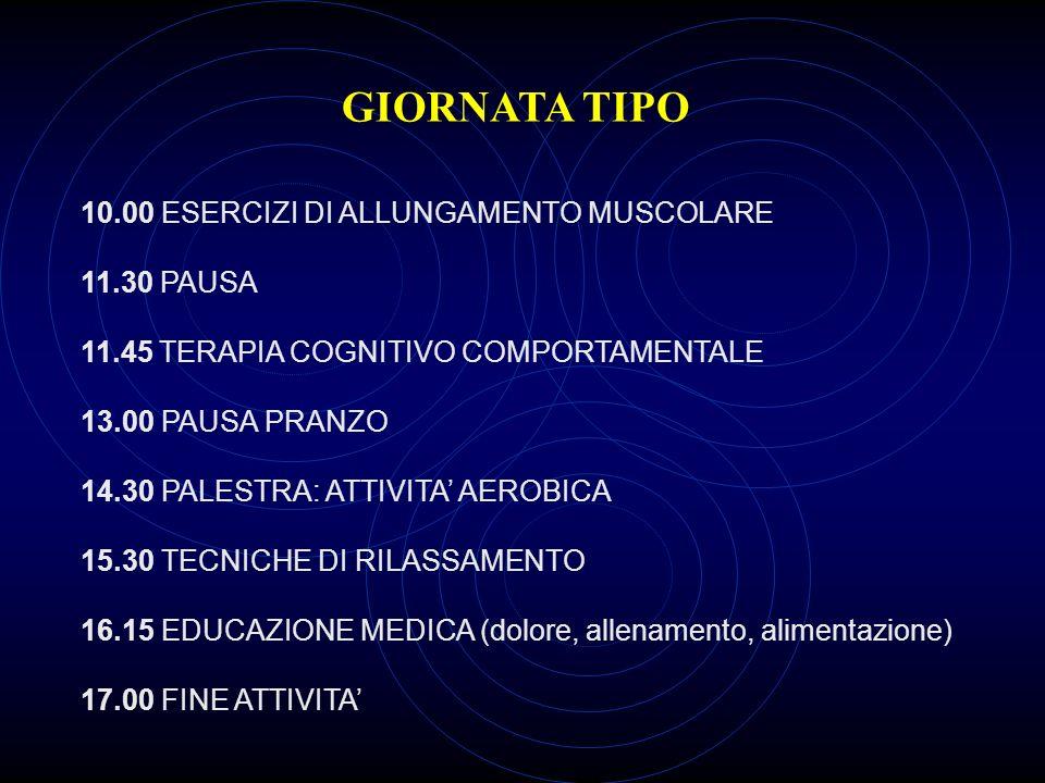 GIORNATA TIPO 10.00 ESERCIZI DI ALLUNGAMENTO MUSCOLARE 11.30 PAUSA